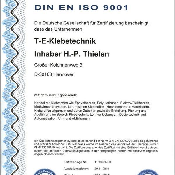 Zertifikat QM-ISO-9001